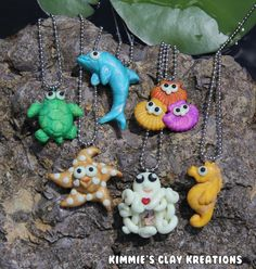Polymer Clay Aquatic Sea Life Necklaces  by KimmiesClayKreations, $10.00