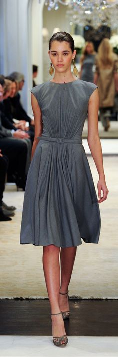 Ralph Lauren Pre-Fall 2014 RTW - silver grey whool afternoon dress