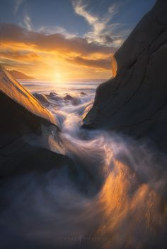 ~~Phoenix • sunset and crashing waves at the very end of Baker Beach, San Francisco, California • by Michael Shainblum~~