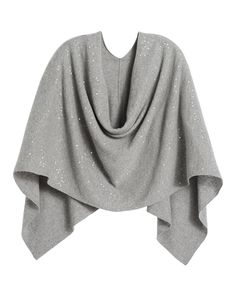 Black Label by Chico's Cashmere Sequin Poncho