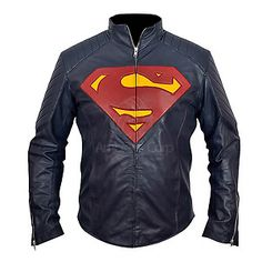 Man of Steel New Superman Midnight Blue Faux PU Leather Jacket Henry Cavill BNWT