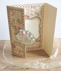 Wedding Card *Art-Piaskownica* - Scrapbook.com - love the inside where the card message is written.