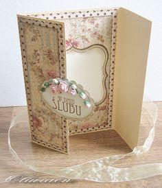Wedding Card *Art-Piaskownica* - Scrapbook.com - love the inside where the card message is written.