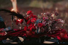 Black pampas, black roses, red roses, black and gold calligraphy, blue hydrangea, black velvet, red velvet, handmade ceramics, fall flowers, dark flowers, black flowers Black Roses, Red Roses, Gold Calligraphy, Dark Flowers, Blue Hydrangea, Black Velvet, Wedding Decorations, Ceramics, Holiday Decor