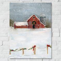 Snowy Winter Barn Scene Canvas Wall Art