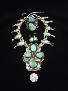 372g Total Weight Vintage Navajo Sterling Silver & Dry Creek Turquoise SET: Lg Squash Blossom Necklace + Huge Cuff Bracelet + Earrings. by PoohsCornerOTheWorld on Etsy https://www.etsy.com/listing/219639120/372g-total-weight-vintage-navajo