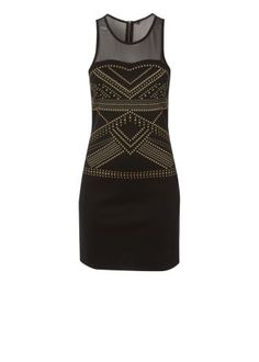 £24 The bodycon trend teamed with studded detail is a greay to add a rock chick vibe to your look this autumn and this black sleeveless dress has a gorgeous mesh top half and it would look great worn with statement heels on your next night out. The dress is taken from the Be Beau collection of fun affordable fashion.