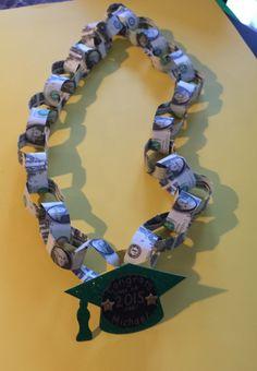 graduation leis for teen Diy Graduation Gifts, Graduation Leis, Kindergarten Graduation, Money Lei, Money Origami, Gift Money, Money Cake, Origami Gifts, Dollar Origami