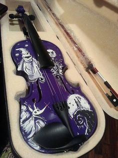 Hand-Painted Tim Burton Inspired Nightmare Before Christmas Violin