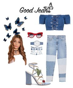"""Denim with a touch of cherry 🍒"" by holderafiya ❤ liked on Polyvore featuring MANGO, A.X.N.Y., Gianvito Rossi and Dolce&Gabbana"