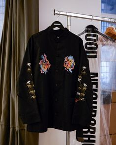 """Wood Wood Store on Instagram: """"Embroidered dragon's and a smooth and shiny cotton fabric. The Neighborhood Kung Fu jacket available online and in-store."""""""