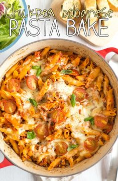 Chickpea bolognese pasta bake - so yum! With tons of hidden vegetables, and a bolognese mince made of blitzed chickpeas! A great vegetarian family meal, or one to batch cook for the freezer.
