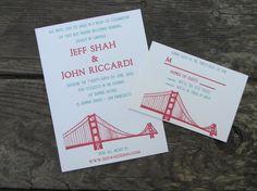 Letterpress Wedding Invitations   Golden Gate by SeasidePress, $4.00