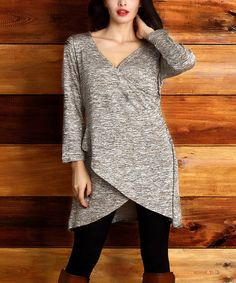 Look at this Oatmeal Melange Faux-Wrap Tunic - Plus on #zulily today!
