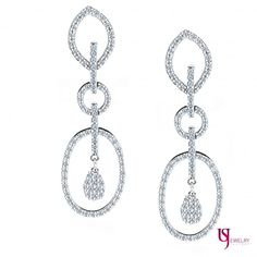 Three Tier Geometric Dangle 1.45 Carat Round Cut Diamond Earrings 14k White Gold