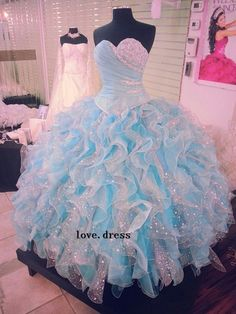 2014 New Blue Quinceanera Dress Formal Prom Party Ball Gown Custom All Size in…
