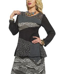 Look what I found on #zulily! Black & White Mixed Media Tunic - Women & Plus #zulilyfinds