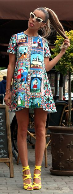 Multicolor Patterned Little Dress