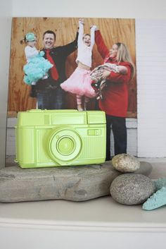 Spray paint an old camera and use as decor