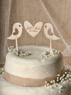Rustic Cake Topper Wood Cake Topper Lovebirds by forlovepolkadots