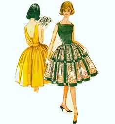 1960s Dress Pattern Full Gathered Skirt and by CherryCorners