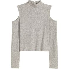 Spring's New Mood found on Polyvore featuring tops, shirts, sweaters, long sleeved, cutout shoulder sweater, zip sweater, cut out crop top, crop top and white cropped sweater