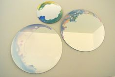 DIY Watercolor Mirror, just drop glass stain on side and mix with water. let sit.