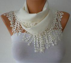 Women Pashmina  Scarf   Cotton Scarf  Headband  Cowl by fatwoman