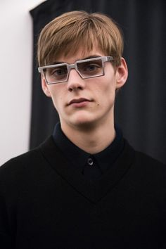 Futuristic square glasses backstage at Prada AW15 Milan. See more here: http://www.dazeddigital.com/fashion/article/23264/1/prada-aw15