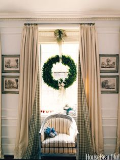 Going on vacation or don't want the hassle of a real tree? Wreaths in the window make a big impact and are easy to care for.
