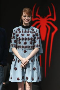 Emma Stone in Erdem Fall 2014, Worn at The Amazing Spider-Man 2: Rise Of Electro Berlin Photocall