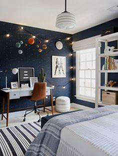 Blue Bedroom Walls, Boys Bedroom Furniture, Boys Bedroom Decor, Bedroom Themes, Blue Walls, Wood Bedroom, Furniture Ideas, Boy Bedroom Designs, Childrens Bedroom