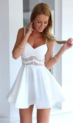 White Spaghetti Strap Lace Waist Skater Dress - Choies.com