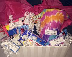 Good luck box!!  -Cover up the competition-blanket -I'm rootin' for you-rootbeer -Roll over the competition-fruit roll up -knock their socks off-socks -you're going to nail it-nail polish -be the star on the court- starburst  -it's crunch time! You got this- crunch bar -your going to blow them away- bubble gum