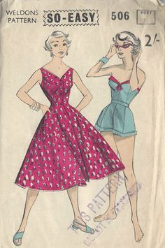 1950s Vintage Sewing Pattern B36 DRESS SHORTS & SUN TOP (1014R)