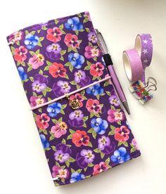 In Stock Fabric Cover Fauxdori  Purple violets Travelers