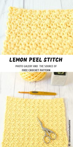 How to Crochet Lemon Peel Stitch with Free Pattern This Lemon Peel Stitch is based on texture structure, it would be your favourite project because of this easy pattern. It's soothing when you have many complicated projects last ti Crochet Patterns 40 Fre Crochet Diy, Crochet Simple, Stitch Crochet, Tunisian Crochet, Crochet Crafts, Crochet Projects, Crochet Tutorials, Sewing Crafts, Sewing Projects