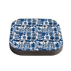 "Kess InHouse Agnes Schugardt ""Dream"" Blue White Coasters (Set of 4) 4""x 4"" (Dream) (Wood)"