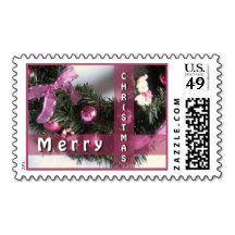 Purple Green Pink Seasonal Wreath Decoration Postage Stamps