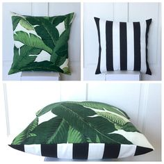 Outdoor Tommy Bahama Tropical Palm & Black and white stripes Square/Cushion / Pillow Cover Tropical Coastal Beachhouse Nautical Tropical Patio, Tropical Home Decor, Tropical Houses, Tropical Interior, Green Apartment, Patio Cushions, Decks And Porches, Inspired Homes, Outdoor Rooms