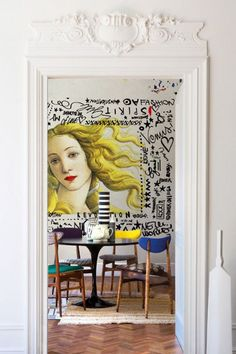 POP ART version of Venus in Botticelli's Birth of Venus of the Renaissance Era, with some graffiti art surrounding it. Reinforcing the POP ART theme i… - Sites new Contemporary Wallpaper, Contemporary Decor, Modern Art, Modern Lamps, Midcentury Modern, Interior Design Inspiration, Home Interior Design, Furniture Inspiration, Interior Designing