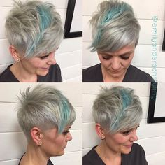 Steel and cotton candy blue for her #pixie yesterday make my happy. #undercut…