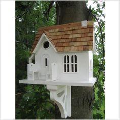 Cozy Cottage Bird House in Victorian White -  - birdhouses - other metro - by teakwickerandmore.com