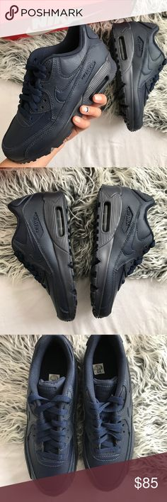 Nike Air Max 90 Leather Brand new with the box but no lid. Youth size 5.5y which is a women's size 7. Navy color Nike Shoes Athletic Shoes