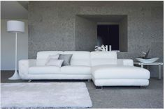 Chic Modern 0680 White Leather Living Room Sectional Sofa Contemporary Design #VIGFurniture