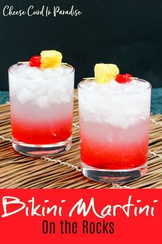 Bikini Martini is the perfect drink to sip poolside. Vodka, coconut rum, lemonade, fresh pineapple juice, and grenadine make a tropical sweet treat. Serve up- or my style- on the rocks! #NationalMartiniDay #BikiniMartini #SummerDrinks #vodka