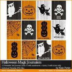 Printable Project Life Halloween Magic Journalers - Digital Scrapbooking Elements DesignerDigitals