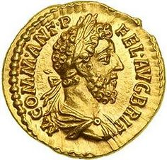 "Ancient Roman gold coin of Emperor Commodus, portrayed by Joaquin Phoenix in the 2000 film ""Gladiator"""