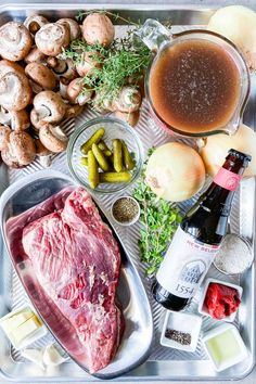 Bierfleisch (Brisket Stew with Mushrooms and Black Lager) - Craft Beering Beef Stew With Beer, Classic Beef Stew, Bread Dumplings, Braised Brisket, Cooking With Beer, Pork Meat, Stuffed Mushrooms, Stuffed Peppers