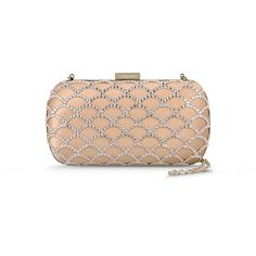 Sergio Rossi Mermaid ($1,650) ❤ liked on Polyvore featuring bags, handbags, clutches, nude, purse, box clutch, hard clutch purse, rhinestone clutches and nude purses